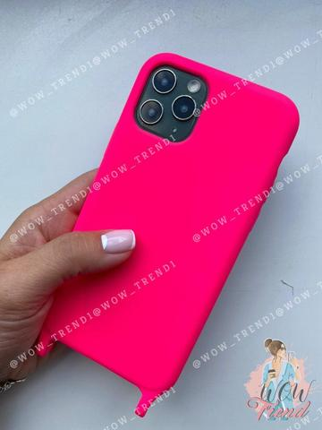 Чехол iPhone 11 Pro Max Silicone Case crossbody bag /electric pink/