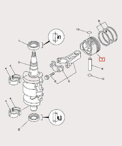 Поршень для лодочного мотора F9,9 Sea-PRO (3-7)