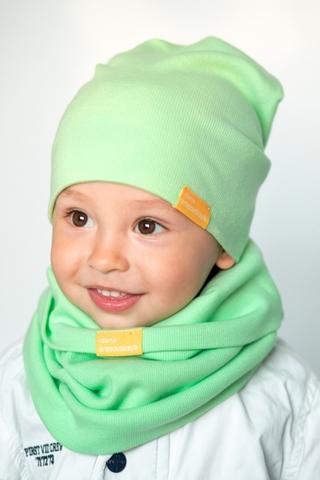 Детская шапка хлопковая в рубчик светло-салатовая