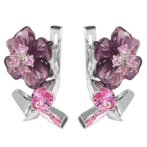 Серьги из серебра с цветами из фианита и кварца Арт.2220фрр