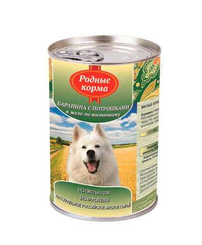 Родные Корма консервы для собак баранина с потрошками в желе по-восточному 410 г