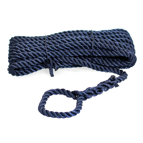 Трос швартовый 3х-прядный Ø10 мм/ 10 м, темно-синий
