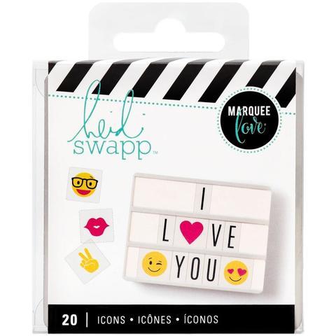 Сменные пластиковые слайдеры- эмодзи  Emoji Icons  для светильника Lightbox   -   Heidi Swapp