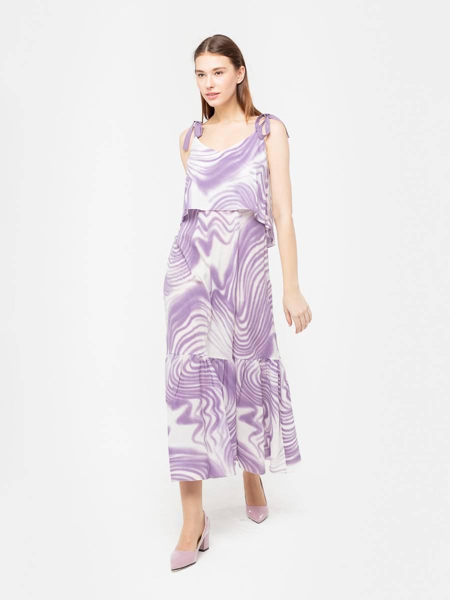 Платье З189-343 - Эффектное платье А-образного силуэта с широким воланом и отлетной деталью с асимметричным низом в районе груди. Однотонные лямки можно регулировать по длине. Прекрасный вариант для праздничных мероприятий и летнего отдыха. Легкое платье на бретелях эффектно подчеркнёт плечи, а длина макси вкупе с высоким каблуком сделают вас зрительно выше. Модель можно так же сочетать с босоножками на низком ходу, чтобы бесконечные летние прогулки оставили только приятные воспоминания.