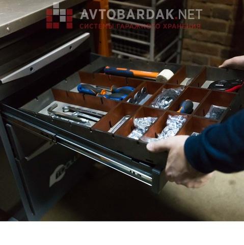 Ложемент для хранения инструментов в выдвижной ящик тумбы ТВК (h 50 мм)