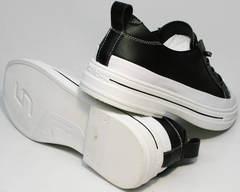 Кожаные кеды без шнурков стильные туфли на низком каблуке El Passo sy9002-2 Sport Black-White.