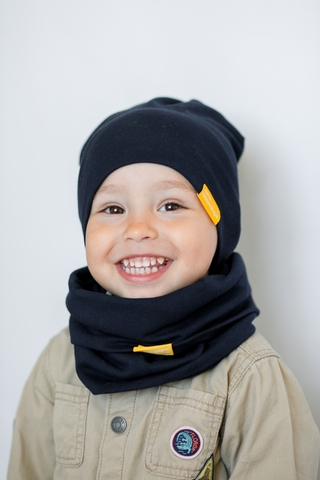 Детский снуд-горловинка из хлопка гладкий черный