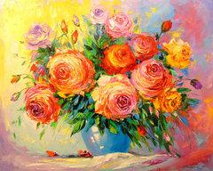 Картина раскраска по номерам 40x50 Разноцветный яркий букет