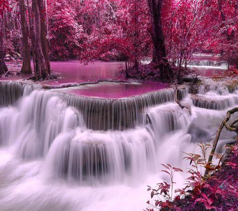 Алмазная Мозаика 30x40 Водопад в розовом лесу