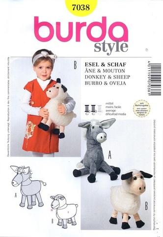 Выкройка Burda (Бурда) 7038 — Мягкие игрушки: Овечка, Ослик
