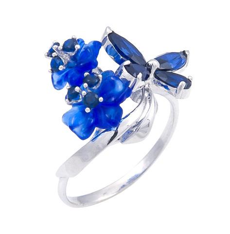 Кольцо с цветами из кварца и сапфиром Арт. 1196сс