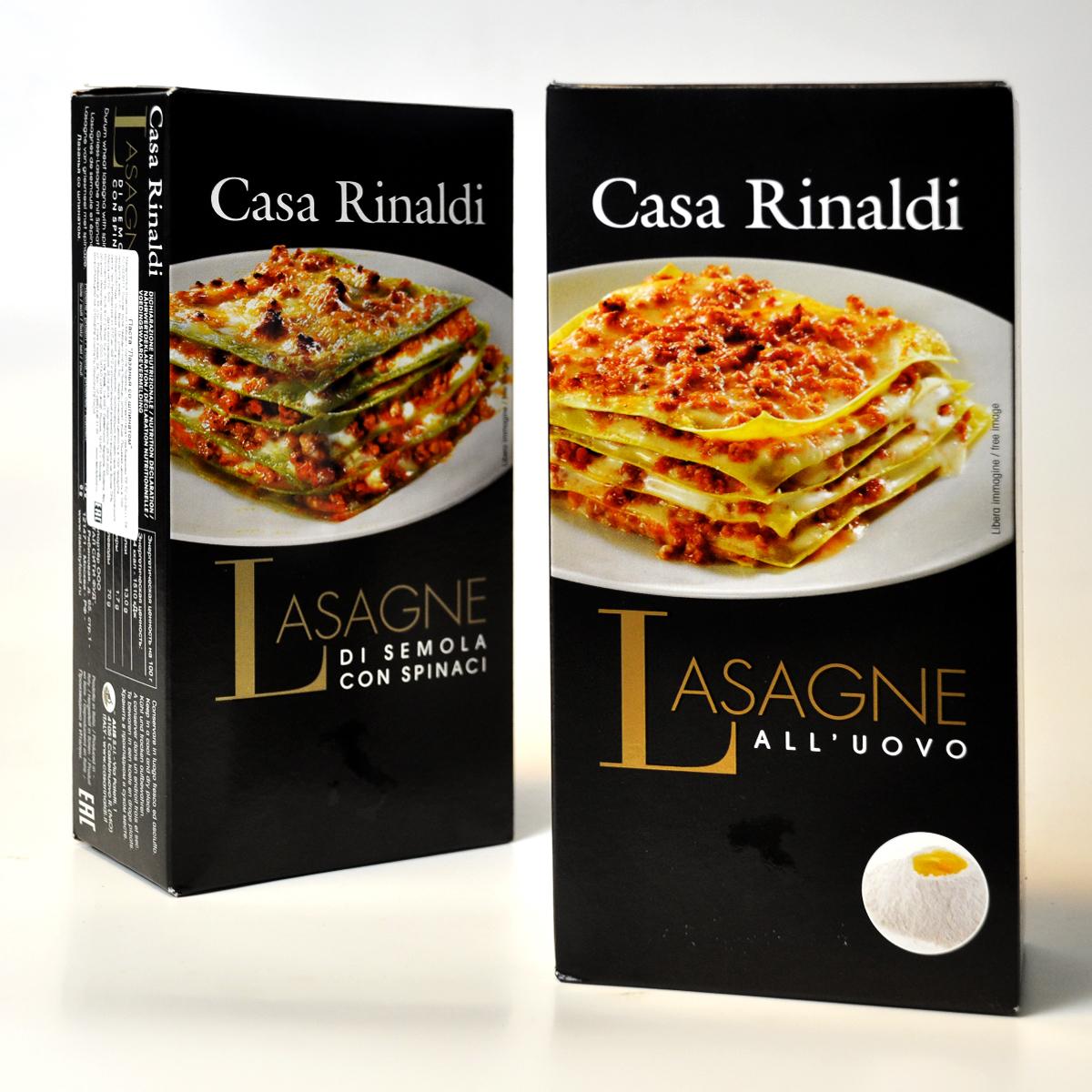 Паста Лазанья из муки  твердых сортов  пшеницы со шпинатом  ручной работы Casa Rinaldi 500 г