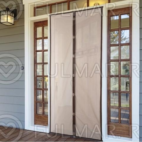 Антимоскитная сетка на дверь балкона и дома на магнитах 80x210 см Коричневая