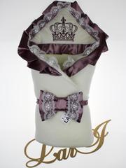 Зимний набор на выписку из роддома Очарование - 3 предмета (кремовый\сливовый)