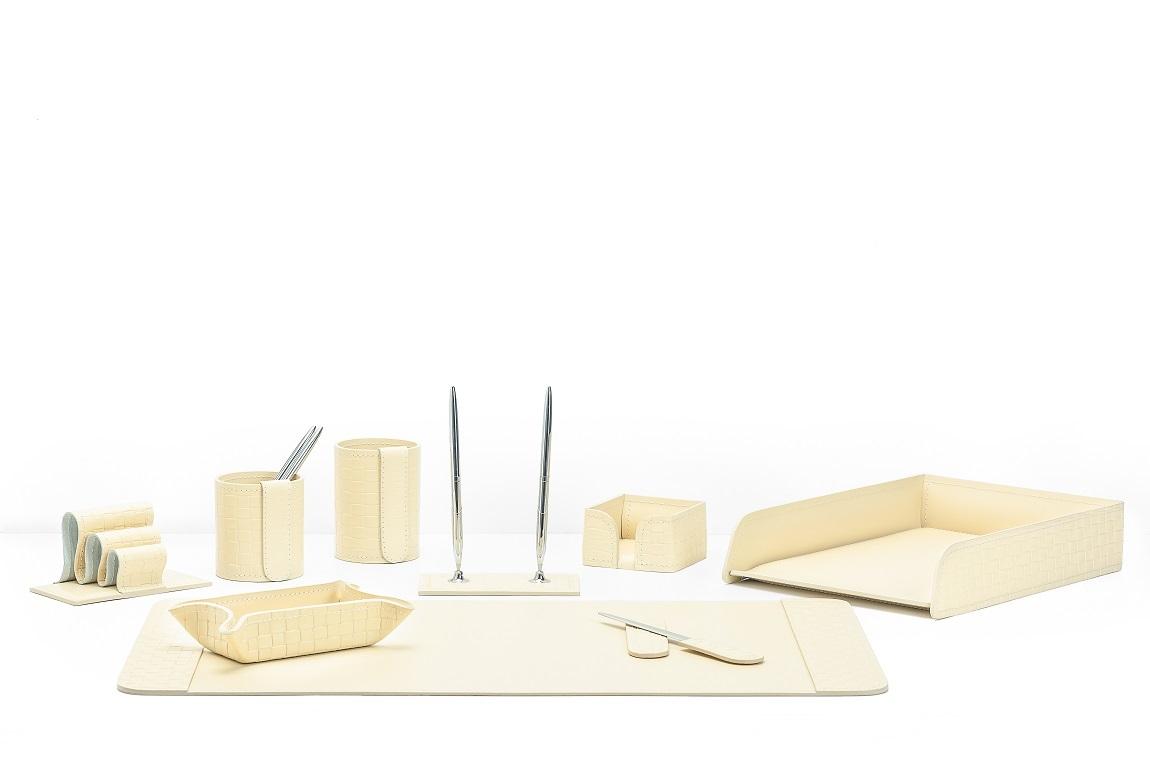 Органайзер офисный 9 предметов из кожи Treccia/слоновая кость