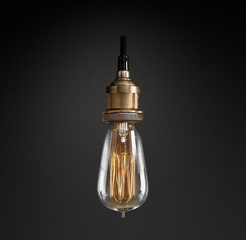 Подвесной светильник копия 20th C. Factory Filament Bare Bulb Single Pendant by Restoration Hardware