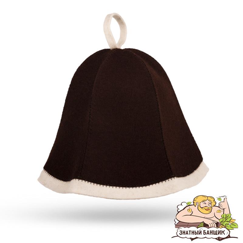 Коричневая войлочная шапка для бани