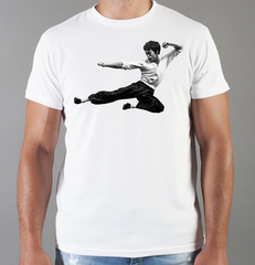 Футболка с принтом Брюс Ли (Bruce Lee) белая 0015