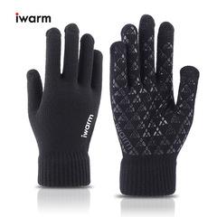 Вязаные мужские перчатки с тачскрином IWARM (Перчатки для сенсорных экранов) черные