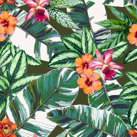 орхидеи, гибискус и листья банана