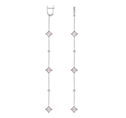 Серьги-цепочки с розовым кварцем