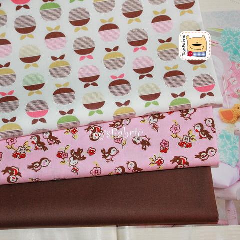 Набор тканей для пэчворка 51761 Яблоки и птицы (45х35см/3шт.)