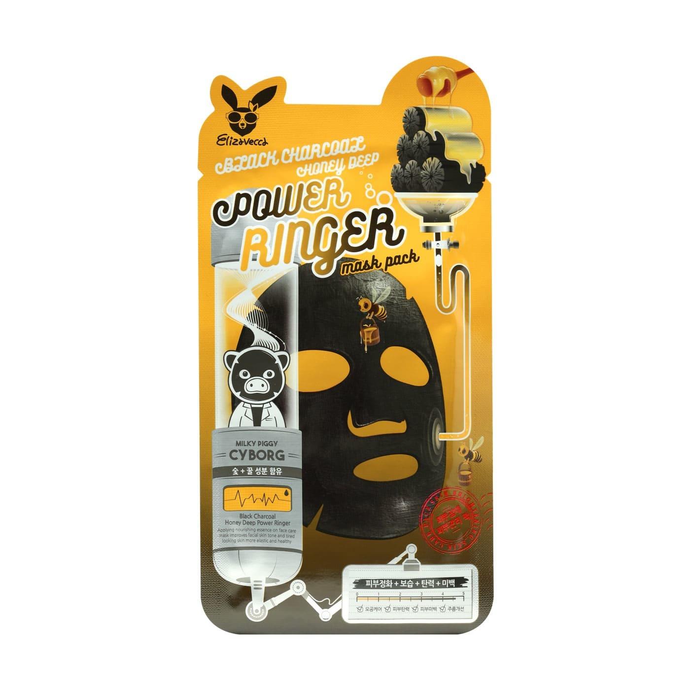 Тканевая маска для лица с порошком древесного угля Elizavecca Black Charcoal Honey Deep Power Ringer Mask Pack