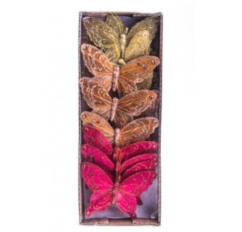 Набор бабочек с глиттером на прищепках из 12 шт., размер: 10 см