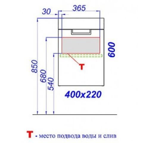 Комплект мебели для ванной Aqwella Leon 40 Venge Ln.01.04 схема