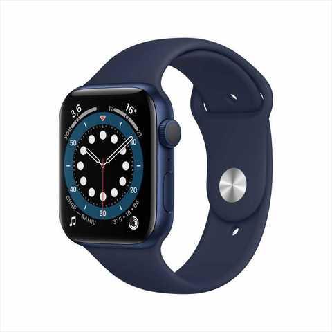 Apple Watch Series 6, 44 мм, корпус из алюминия синего цвета, спортивный ремешок «тёмный ультрамарин»