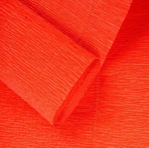 Бумага гофрированная, цвет 581 оранжевый, 180г, 50х250 см, Cartotecnica Rossi (Италия)