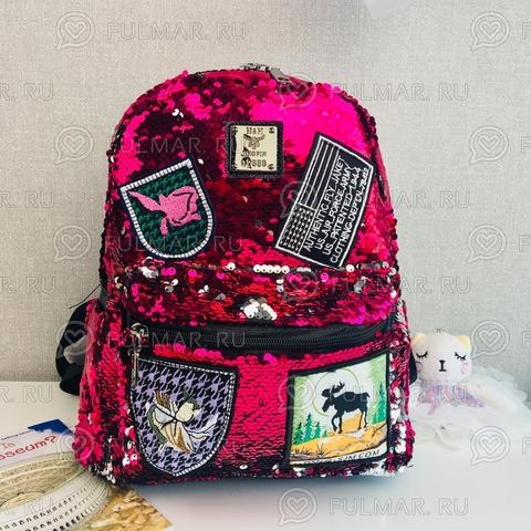 Рюкзак с пайетками меняющий цвет Малиновый серебристый с нашивками