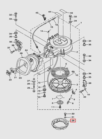 Основание стартера для лодочного мотора T40 Sea-PRO (7-29)