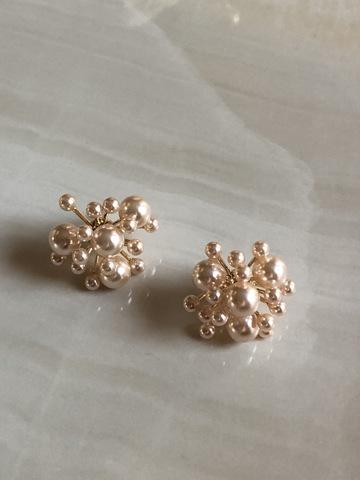 Серьги Молекула, цвета розового золота