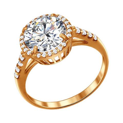 93010380-Кольцо из золочёного серебра с круглым камнем в обсыпке