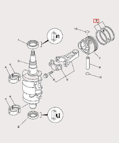 Кольцо поршневое среднее для лодочного мотора F9,9 Sea-PRO (3-8-2)