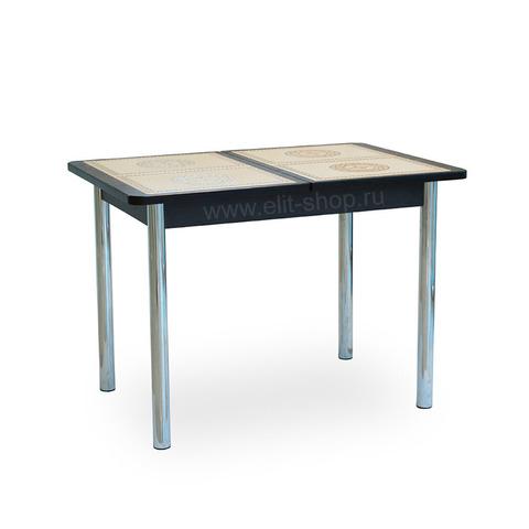 Стол КАППА ПР Венге / плитка №52 / подстолье венге / опора №02 хром / 104(141)х72см