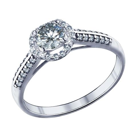 94011504-Помолвочное кольцо из серебра с фианитами от SOKOLOV