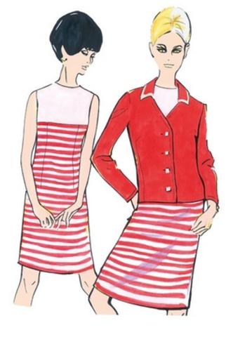Выкройка Burda (Бурда) 7040 — Стиль 60-х: Платье, Жакет
