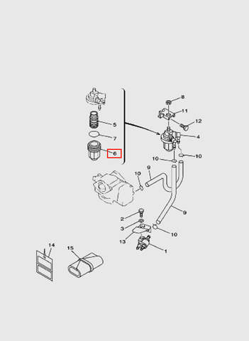 Корпус топливного фильтра  для лодочного мотора T15, OTH 9,9 SEA-PRO (6-6)
