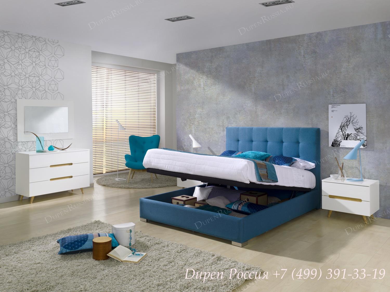 Кровать 875 BELEN, комод DUPEN C-125 белый, тумбочка DUPEN M-125 белая, зеркало DUPEN E-96