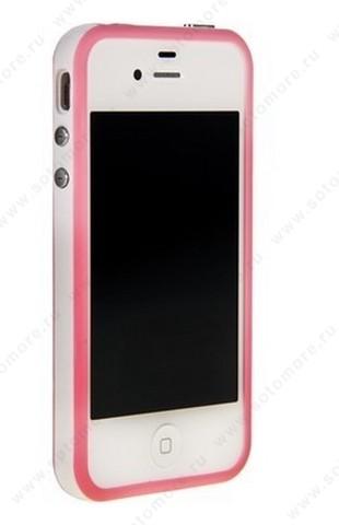 Бампер для iPhone 4s/ 4 розовый с белой полосой