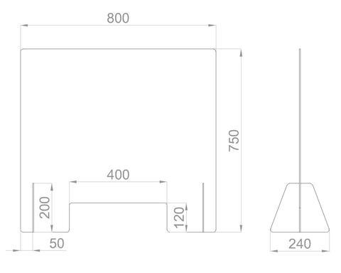 Настольный экран с окном Ш.800мм, В.600/750мм