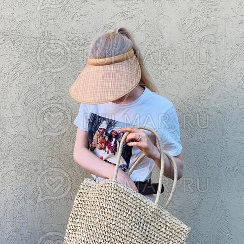 Широкий бежевый козырек от солнца-ободок на голову (цвет: Солома)