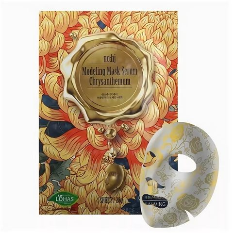 Тканевая золотая маска с экстрактом хризантемы NOHJ Modeling Mask Serum Chrysantemum