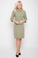 """<p>Молодежное платье в стиле """"карго"""". Функциональные карманы - неотъемленная часть этого сезона. Платье прямого силуэта, рукав 3/4 с манжетом и патом.Ворот отложной с планкой на пуговицах. Платье представленно в модной цветовой гамме. <span>(Длины: 46-98см; 48-52=99см)&nbsp;</span></p>"""