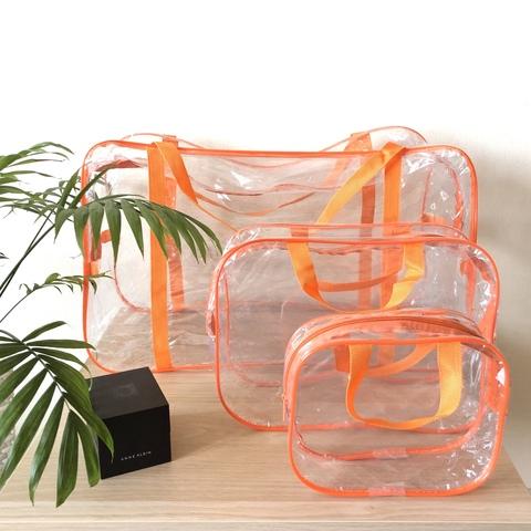 Прозрачная сумка в роддом с 2 косметичками, оранжевая