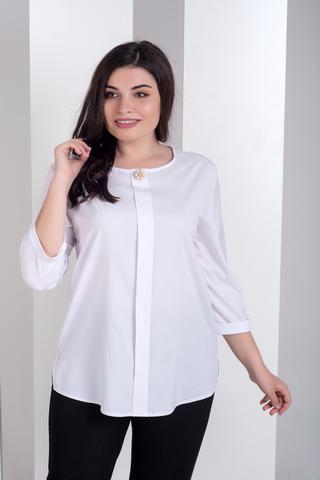 Лиза. Стильная блуза больших размеров. Белый