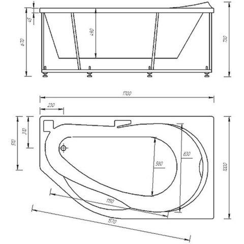 Ванна акриловая Aquatek Таурус  170х100см. на каркасе и сливом-переливом левая/правая схема
