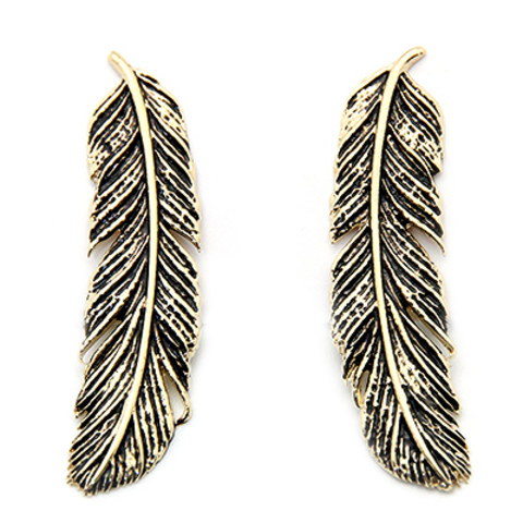 Серьги Перья (золотые с черным)